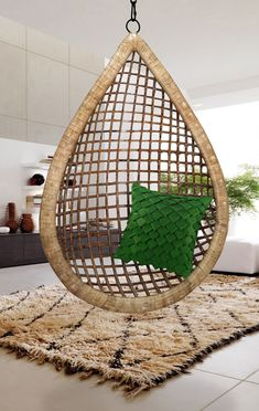 Suitable for all ages, this heavy duty Bamboo swing chair hangs from any strong chain or rope with a hand-forged hook, cradling you for a quiet Zen moment, indoors or outdoors.  Cool for teen's room, swimming pool area or even cooler for your hotel, restaurant, beach resort, home or garden. Buy it today and become envy of your guests and neighbors.