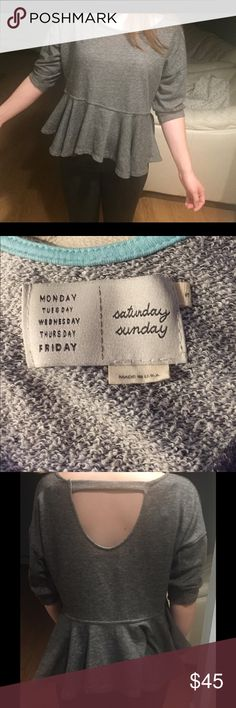 Anthro Saturday Sunday Peplum Sweater Anthropologie Saturday/Sunday Grey Peplum top in size small. Fits great, true to size and extremely comfortable. Barely worn in good condition no damage. Anthropologie Tops Blouses