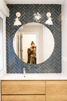Iridescent blue herringbone bathroom wall tiles from Mosaic Factory's Moroccan ZELLIGE tiles collection Blue Bathroom Walls, Bathroom Wall Tile, Moroccan Tile Bathroom, Herringbone Tile, Trendy Bathroom Tiles, Bathroom Wall, Tile Bathroom, Herringbone Wall, Bathroom