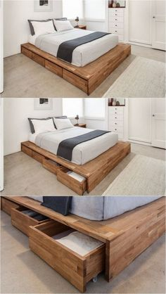 Minimalist Bedroom Design for Modern Home Decor - Di Home Design Pallet Furniture, Bedroom Furniture, Furniture Design, Bedroom Decor, Wood Bed Design, Bedroom Headboards, Furniture Projects, White Furniture, Design Bedroom