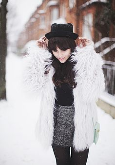 snow day. Love the shag fur coat. Must get one this winter #lulus #holidaywear