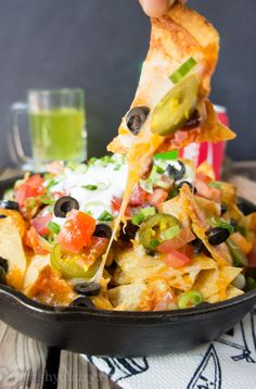 "Ultimate Macho Nachos | Father's Day is all about showing the dad's in your life how much you appreciate all they do. What better way to say ""Thanks!"" than with Man Food? Not just any Man Food, I'm thinking a big pile of hot, gooey, cheesy, layered Macho Nachos. 