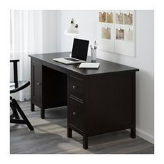 IKEA - HEMNES, Desk, black-brown, $280  61 x 25  You can collect cables and extension cords on the shelf under the table top, so they're hidden but still close at hand.Cable outlets for easy cable management.The lower drawer has a file frame that can be adjusted to fit letter or legal files.Can be placed anywhere in the room because the back is finished.Solid wood is a durable natural material.You can mount the drawers to the right or left, according to your needs.