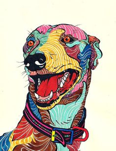 Galgo de Colores. by Kael Kasabian., via Flickr Silkscreen, Greyhound Art, Colorful Animals, Dog Paintings, Animal Design, Dog Art, Illustrations Posters, Design Illustrations, Pet Portraits