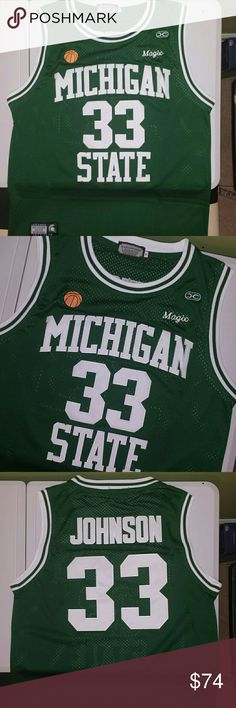 """Ervin  """"Magic"""" Johnson Michigan State Jersey Stitched n Embroidered Ball and Magic Embroidery on Front Nike Other"""