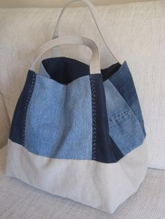 Recycled Denim Bag, Large Shoulder Canvas Bag with Handstitched Embroidery . - Recycled Denim Bag, Large Shoulder Canvas Bag with Handstitched Embroidery and Vintage Buttons Deco Sewing Jeans, Diy Jeans, Reuse Jeans, Denim Tote Bags, Canvas Tote Bags, Denim Purse, Jean Diy, Extra Large Tote Bags, Embroidery Bags