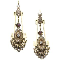 Victorian Pearl Ruby Diamond Gold Earrings ($21,975) ❤ liked on Polyvore featuring jewelry and earrings