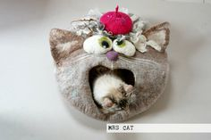 Cat bed/ cat cave/ cat house/ Felted cat house -Mr.Cat - pinned by pin4etsy.com