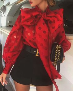 Dot Hollow Out Lantern Sleeve Knotted Blouse Women Chic Elegant Office Lady Street Wear Spring Fall Fashion Trends Top Shirt Fall Fashion Trends, Autumn Fashion, Elegantes Outfit Frau, Mode Instagram, Bow Blouse, Looks Cool, Pattern Fashion, Types Of Sleeves, Blouses For Women