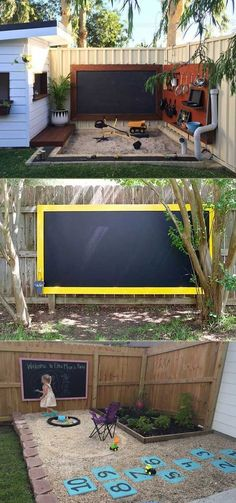 Make an outdoor chalkboard to hang on your fence, so your children can spend the entire day in the backyard playing with chalk. outdoor play area for kids backyards 15 Cool and Budget-Friendly Projects for a Kid's Play Area - HomeDesignInspired Kids Outdoor Play, Outdoor Play Areas, Kids Play Area, Backyard For Kids, Outdoor Fun, Backyard Patio, Backyard Landscaping, Landscaping Ideas, Rustic Backyard
