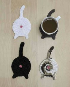 d4d2d2383e4 Cat Crochet - cat-butt-coasters-great gag gift for my cat loving relatives  but also a great fund raiser for animal shelters! Made of cotton worsted  yarn and ...