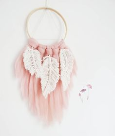 Dream Catcher with macrame feathers Wall hanging Nursery decoration Macrame Wall Hanging Diy, Macrame Art, Macrame Projects, Feather Dream Catcher, Dream Catchers, Simplicity Is Beauty, Macrame Design, Macrame Patterns, Diy Arts And Crafts