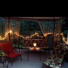 there's always room for twinkle lights. Backyard Retreat, Backyard Patio, Outdoor Spaces, Outdoor Living, Outdoor Decor, Back Patio, Porch Decorating, Patio Ideas, Porch Ideas