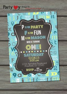 ABC Birthday Invitation, First Birthday Invitation, Alphabet Birthday Invitation, First Birthday Party, Chalkboard Birthday Invitation on Etsy, $10.00