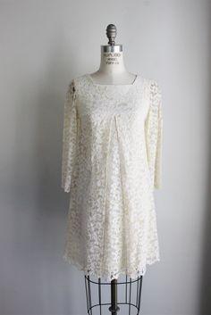 Vintage 1960s Off White Lace Mod Mini Wedding Dress