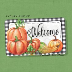 Fall Wreath Sign * Pumpkin Welcome * 3 Sizes * Adhesive Mounts Included * Lightweight Metal by PersonalLeeYours on Etsy Pumpkin Coloring Pages, Wreath Making Supplies, Fall Signs, Printable Art, Printable Pictures, How To Make Wreaths, Holiday Wreaths, Fall Crafts, Wooden Signs