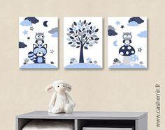 Affiche chambre bébé garçon décoration chambre bébé déco chambre enfant illustration murale chambre bébé hibou raton laveur bleu gris n8
