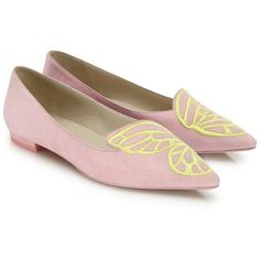 Sophia Webster Bibi Suede Butterfly Flats ($184) ❤ liked on Polyvore featuring shoes, flats, pink flats, flat shoes, suede flats, pink suede flats and pointed-toe flats