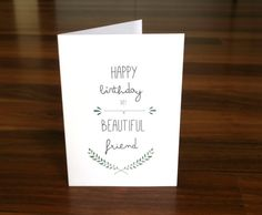 Best Friend Birthday Card - unique birthday card with stylish typogrhapy from Behind the Green Door #birthdaycard