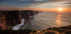 Photo compilation of the Cliffs of Moher on the west coast of Ireland, one of the most outstanding by Bryan Hanna Irish Landscape Photography. Night Yoga, West Coast Of Ireland, Yoga Holidays, Irish Landscape, County Clare, Cliffs Of Moher, England And Scotland, Image Of The Day, Where To Go
