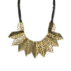 All the Rage Metal Statement Necklace Wood/Gold up to 70% off | Jewelry | Little Black Bag