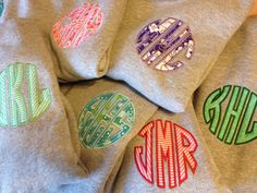 Personalized Applique Circle Monogram Sweatshirt by RWEmbroidery, $28.00