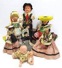Spousta 9 Starožitné Vintage Celluloid panenky včetně Wind-up dítě