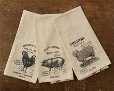 "There is one towel displaying a pig, one with a rooster, and one with a sheep design. Set of 3 ~ ""Farm Animals"" Cotton Tea / Hand Towels. A total of three towels are in this set. Sheep Pig, Sheep Farm, Hand Towels, Tea Towels, Dish Towels, Pig Kitchen, Kitchen Ideas, Kitchen Dishes, Country Kitchen"
