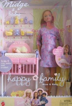Barbie Happy Family Midge & Baby Doll Set - Pregnant Mom & Baby Doll by Mattel. {The last Barbie I got; I thought she was pretty cool! Barbie Dolls Pregnant, Midge Barbie Doll, Mattel Barbie, Baby Barbie, Barbie 2000, Barbie Friends, Lego Friends, Baby Doll Set, Barbie Happy Family