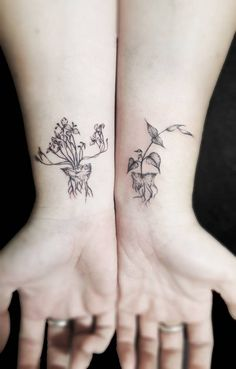 """""""Unearthed"""" Flash, matching set. Tattoo artist:... - Little Tattoos for Men and Women"""