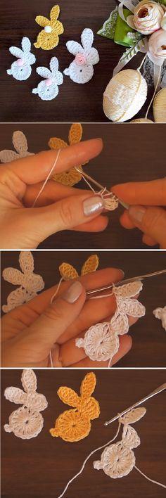 Crochet Easy Bunny Applique (for beginners)