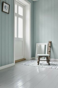 Love the wall color and the gray painted wood floors! ❤❤
