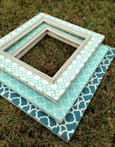set of three oversized distressed frames--moroccan, quatrefoil & star chain in beautiful wedge blue, turquoise, and heirloom white: Frame catalog images, use nails to hang delicates underneath Empty Frames, Frames On Wall, Home Confort, Picture Frame Sets, Blue Picture Frames, Pallet Frames, Distressed Picture Frames, Blue Mirrors, Frame Crafts