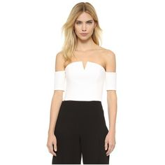 Olcay Gulsen Off Shoulder Crop Top ($275) ❤ liked on Polyvore featuring tops, off white, short sleeve tops, crop top, corset style tops, off shoulder tops and layered crop top