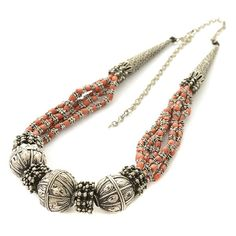 *Yemen Coral Bead, Silver Necklace. : Lot 136