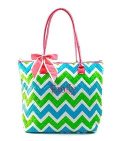 "Personalized  Chevron Coral Green Aqua 16"" Quilted Tote Bag - Gifts Happen Here - 1"