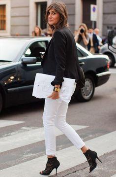 Emmanuelle-Alt-White-Pants-Black-Heels-street-style