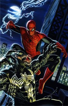 Commissioned painting from Felipe Massafera of Spidey versus Venom, for Hao Lam
