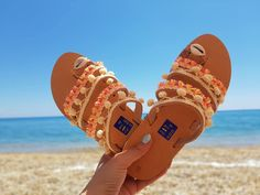 Women Greek leather sandals, Leather pom pom Sandals, Bohemian sandals, Flip flop sandals, Tassel sandals, Handmade sandals, Womens shoes by SweeThingsJewelry on Etsy