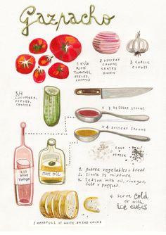 A stunning illustrated recipe for homemade Gazpacho by artist Felicita Sala.