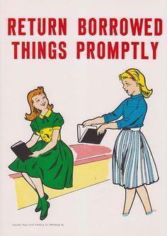 Vintage School Poster - Return Borrowed Things Promptly - Good Manners Illustration - 1959 via Etsy.