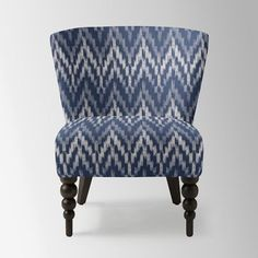 Veronica Turned Leg Chair, Ikat Chevron, Regal Blue