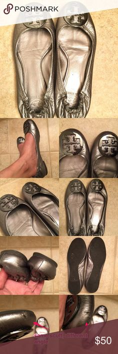 Tory Burch REVA flats silver with silver (gunmetal-ish) hardware • scuff on the underside of left shoe Tory Burch Shoes Flats & Loafers