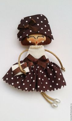 Броши ручной работы. Ярмарка Мастеров - ручная работа. Купить Брошь-куколка из фетра. Handmade. Коричневый, броши из фетра