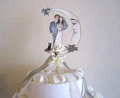 Custom Illustrated Wedding Cake Topper - Hand Painted  - Vintage Details on Etsy, 78,51 €