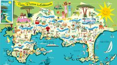 New 1950s style map of the greater Toulon area, designed by Monsieur Z - Illustration. Available free of charge at the tourist information centre of Hyères, Côte d'Azur.