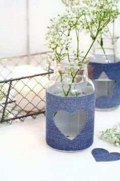 Recycling old jeans diy jars
