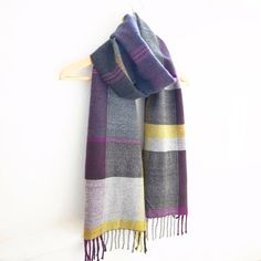 Handwoven Merino Cashmere Scarf Fall Colors 12.5 x by Handarbete