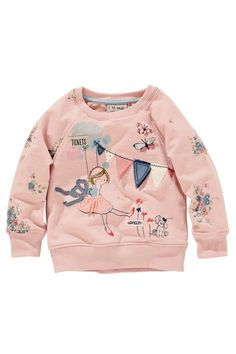 Pink Embellished Crew Neck Sweat from the Next UK online shop Little Girl Fashion, Toddler Fashion, Kids Fashion, Toddler Girl, Baby Kids, Fashion Moda, Cute Baby Clothes, Kind Mode, Kids Wear