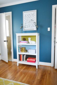 Paint the back side of a bookshelf in different (coordinated) colors
